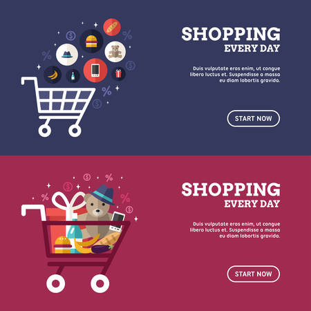 Shopping Everyday. Shopping Cart with Goods. Set of Flat Design Concepts for Web Banners and Promotional Materials Banco de Imagens - 49349518