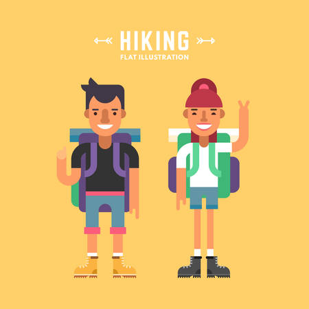 character design: Hiking Concept. Two Tourists with Backpacks Standing and Smiling. Male and Female Cartoon Characters. Flat Design Vector Illustration