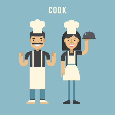 modern kitchen design: Cook Concept. Cook. Male and Female Cartoon Characters. Flat Design Vector Illustration