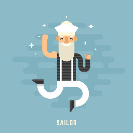 cartoon hat: Sailor Concept. Happy Male Cartoon Character Dancing. Flat Design Vector Illustration
