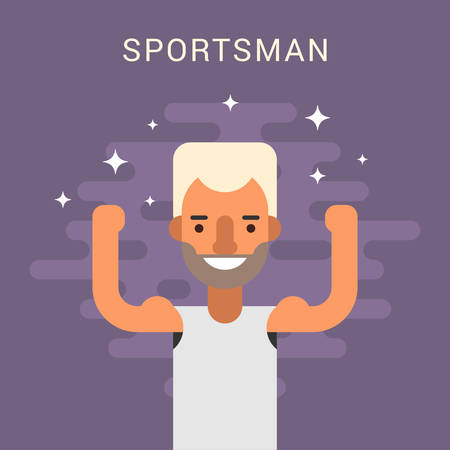 sportsman: Happy Male Cartoon Character Sportsman. Flat Design Vector Illustration