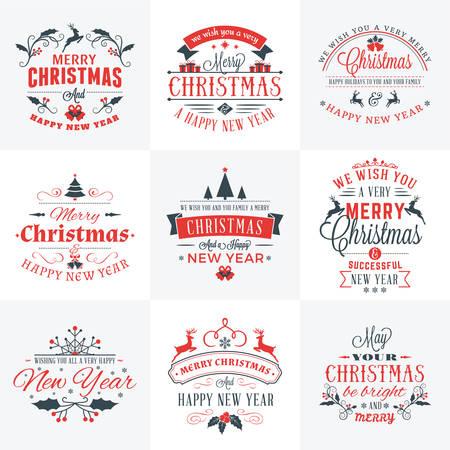 campanas de navidad: Conjunto de Feliz Navidad y Feliz A�o Nuevo Placas decorativas para tarjetas de felicitaci�n o invitaciones. Ilustraci�n del vector en colores rojo y gris
