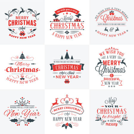 element: Set of Merry Christmas and Happy New Year Decorative Badges for Greetings Cards or Invitations. Vector Illustration in Red and Gray Colors