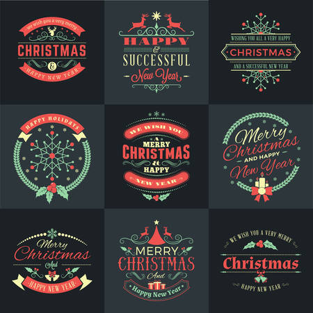 merry: Set of Merry Christmas and Happy New Year Decorative Badges for Greetings Cards or Invitations. Vector Illustration in Retro Colors