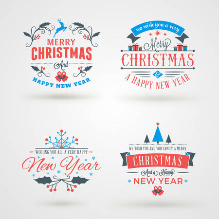 merry christmas: Set of Merry Christmas and Happy New Year Decorative Badges or Labels for Greetings Cards. Vector Illustration