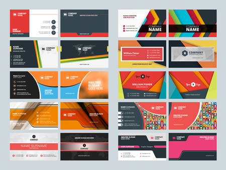 card template: Set of Creative and Clean Business Card Print Templates. Flat Style Vector Illustration. Stationery Design
