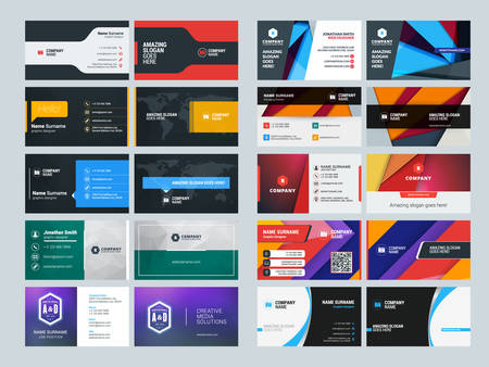 business sign: Set of Creative and Clean Business Card Print Templates. Flat Style Vector Illustration. Stationery Design