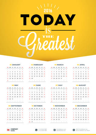 Wall Calendar Poster for 2016 Year. Vector Design Print Template with Typographic Motivational Quote on Yellow Background. Calendar Grid Stock Vector - 49916905