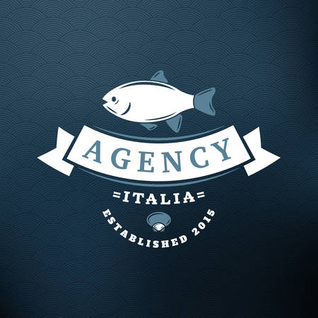 big fish: Big Fish. Vintage Retro Design Elements for , Insignia, Badge, Label. Business Sign Template. Textured Background