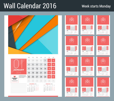 months of the year: Calendar for 2016 Year. Vector Design Clean Template with   Place for Notes. Week Starts Monday. 12 Months
