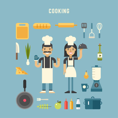 chiefs: Set of Vector Icons and Illustrations in Flat Design Style. Cooking Concept. Male and Female Cartoon Character Chiefs Surrounded by Kitchen Appliances and Food