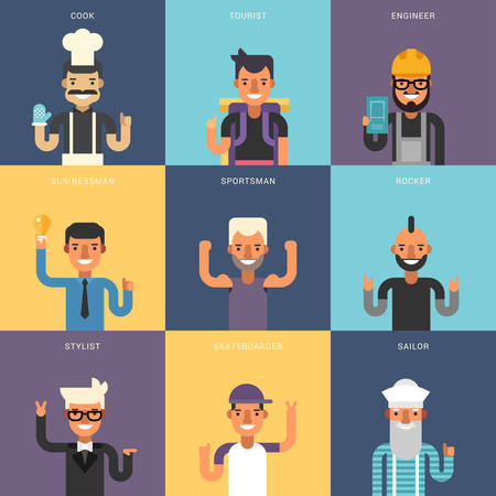 Set of Flat Design Professional People Characters. Male Characters Set. Cook, Tourist, Engineer, Businessman, Sportsman, Rocker, Stylist, Skateboarder, Sailor