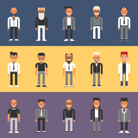 human head faces: Set of Flat Design People Characters. Male Characters Set. Businessmen