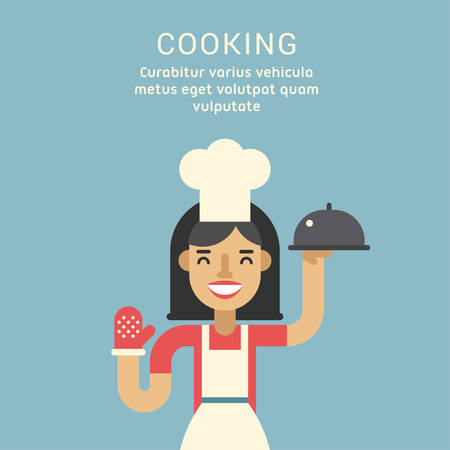 home cooking: Cooking Concept. Female Cartoon Character Standing with Ready Meals. Flat Design Vector Illustration
