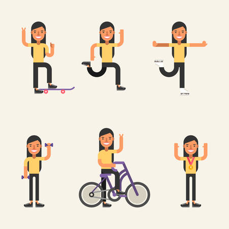 exercising: Kinds of Sport. Set of Flat Style Vector Illustrations of Young Girl Engaged in Various Sports. Skateboarding, Running, Skating, Fitness, Cycling, Winner Illustration