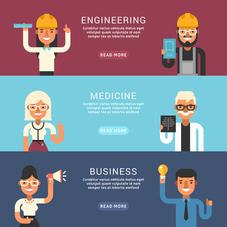 professional occupation: Set of Flat Style Vector Conceptual Illustrations for Web Banners. People Occupation. Engineering, Medicine, Business Illustration