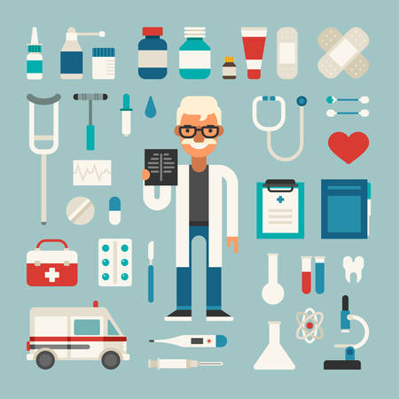 Set of Vector Icons and Illustrations in Flat Design Style. Profession Medicine Doctor. Male Cartoon Character Surrounded by Medical Appliances