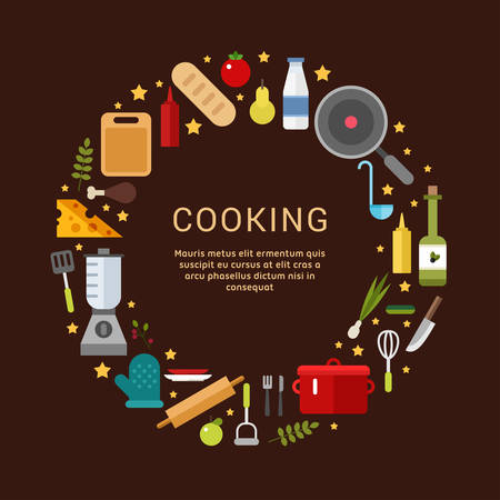 cooking recipe: Cooking Icons in the Shape of Circle. Vector Illustration in Flat Design Style for Web Banners or Promotional Materials