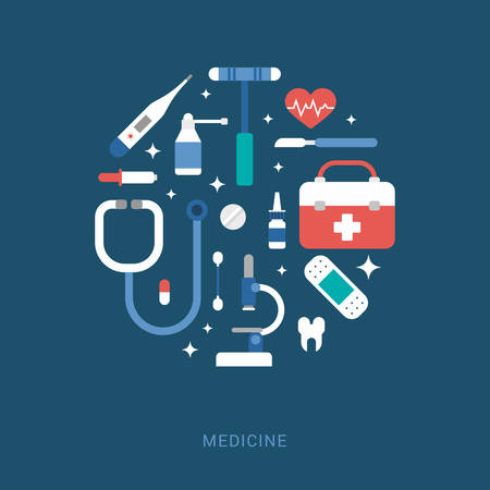 phonendoscope: Medical Icons in the Shape of Circle. Suitcase, Thermometer, Patch, Microscope, Pipette, Scalpel, Spray, Tooth, Phonendoscope. Vector Illustration in Flat Design Style for Web Banners or Promotional Materials Illustration