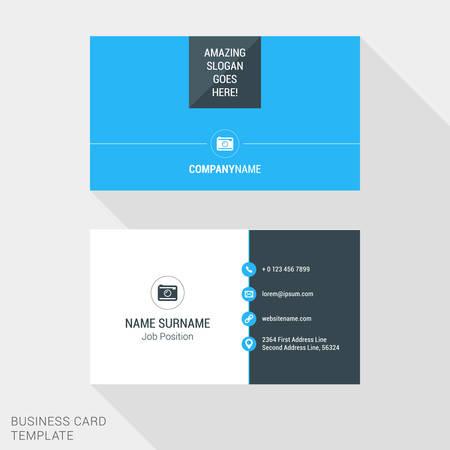 horisontal: Modern Creative Business Card Template. Flat Design Vector Illustration. Stationery Design