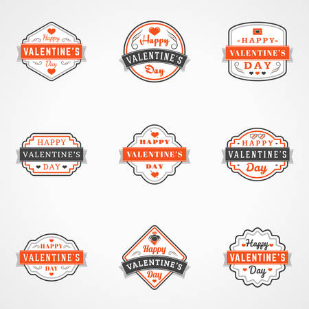 fourteen: Set Of Vintage Happy Valentines Day Badges and Labels. Typography Design Template with Red and Black Colors