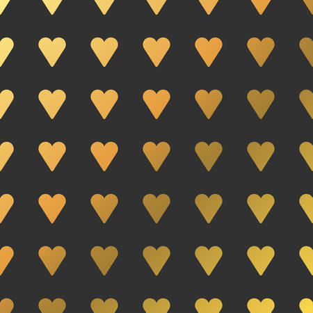 fourteen: Pattern with Golden Hearts. Vector Background for Valentines Day Cards or Save the Date Invitation