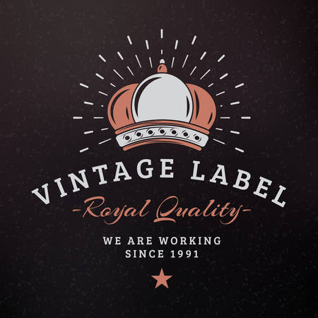 prestige: Royal Crown. Vintage Retro Design Elements for Logotype, Insignia, Badge, Label. Business Sign Template. Textured Background