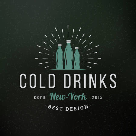 cold drinks: Cold Drinks. Vintage Retro Design Elements for Logotype, Insignia, Badge, Label. Business Sign Template. Textured Background