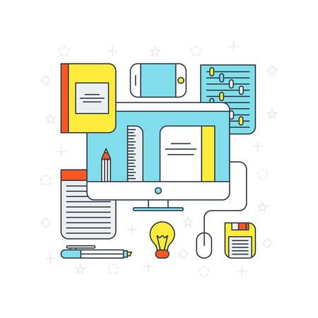 software development: Thin Line Flat Design Concept Illustration for Online Office Applications
