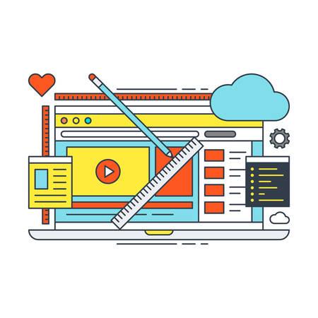 Thin Line Flat Design Concept illustratie voor Web Design