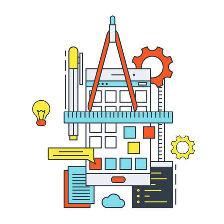 Thin Line Flat Design Concept Illustration of Mobile Apps Development Process Vector Illustration