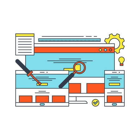software development: Thin Line Flat Design Concept Illustration for Search Engine Optimization
