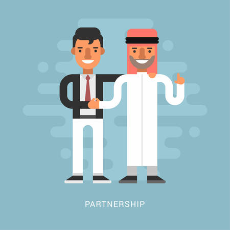 business deal: Flat Design Style Vector Illustration Concept of Successful Partnership. Business People Cooperation Agreement, Business Deal and Handshake of Two Businessman. European and Arab Partnership