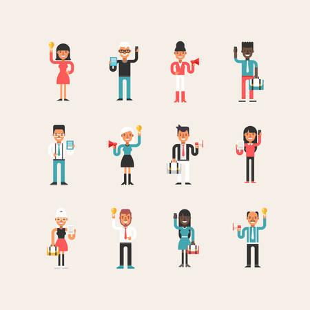 mujer con maleta: Conjunto del hombre de negocios estilo de dibujos animados de espacios de caracteres de las mujeres con símbolos del asunto en diferentes poses