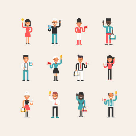 working dress: Set of Flat Style Cartoon Business Man and Women Characters with Business Symbols in Different Poses