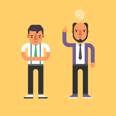 subordinate: Chief Yells at Subordinate. Flat Style Vector Illustration