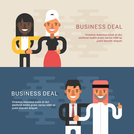 business deal: Set of Flat Style Web Banners  Templates. Vector Illustration Concept of Successful Partnership. Business Deal and Handshake of Two Businessman. European and Arab Partnership Illustration
