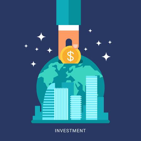 El plano Diseño Conceptual ilustración de Finanzas globales, Economía e Inversión. Mano humana con la moneda y de la Tierra