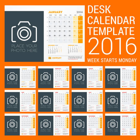 meses del año: Desk Calendar for 2016 Year. Vector Stationery Design Template. Week Starts Sunday. 3 Months on Page