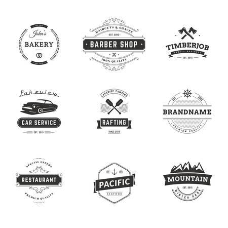 barbero: Conjunto de plantillas Logotipo de talle bajo de la vendimia mínima. Negro en los colores blancos. Comida, coches, viajes, Barbero Vectores