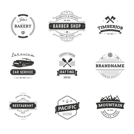food shop: Set of Minimal Vintage Hipster Logotype Templates. Black on White Colors. Food, Car, Travel, Barber Shop Illustration