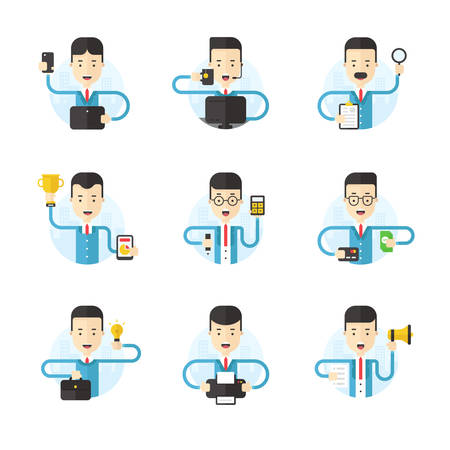 multitask: Set of Flat Style Vector Illustrations. Cartoon Characters. Businessmans in Different Poses. Illustrations for Web Banners and Promotional Materials