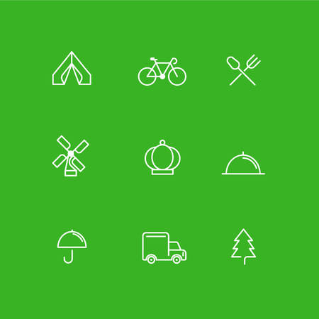 button icons: Set of Simple Line Art Business Icons. Travel, Bicycle, Fastfood, Delivery, Forest, Restaurant Illustration