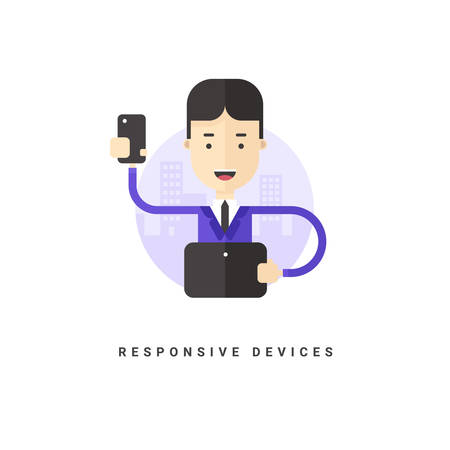 reporting: Flat Style Vector Conceptual Illustration. Businessman with Smartphone. Responsive Devices
