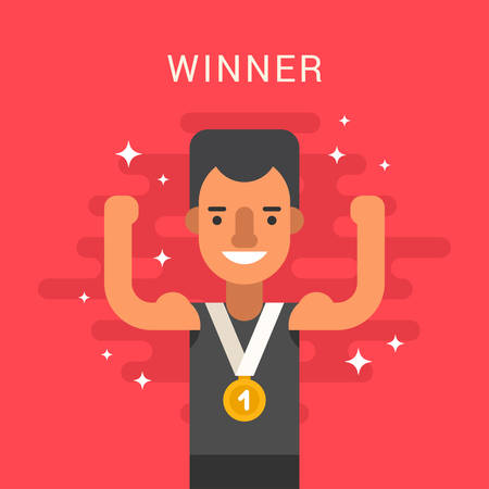 sportsman: Sport Concept Illustration. Male Cartoon Character. Sportsman Standing with Golden Medal. Flat Style Vector Illustration Illustration