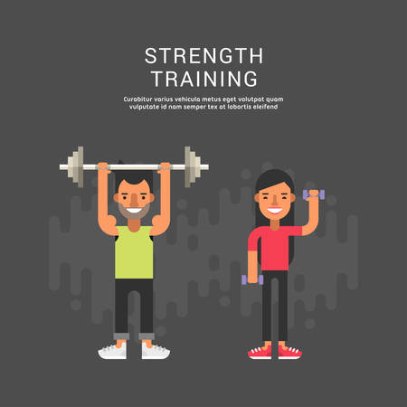 strenght: Sport Concept Illustration. Male and Female Cartoon Characters. Strenght Training. Flat Style Vector Illustration