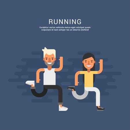 corriendo: Concepto del deporte de la ilustración. Personaje masculino y femenino de dibujos animados que se ejecutaban juntos. Corriendo. Piso Ilustración del vector del estilo