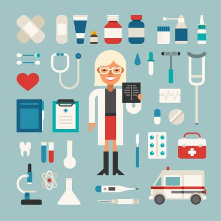hospital dibujo animado: Conjunto de vectores iconos e ilustraciones en Diseño plana del estilo. Profesión Doctor en Medicina. Personaje de dibujos animados femenina Rodeado Medical Appliances Vectores