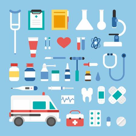 ambulancia: Conjunto de iconos del estilo del piso del vector y elementos del diseño. Iconos de médicos y objetos. Ambulancia, Maleta, Termómetro, Patch, microscopio, pipetas, spray, bisturí, Diente, Phonendoscope, píldoras, suministros médicos