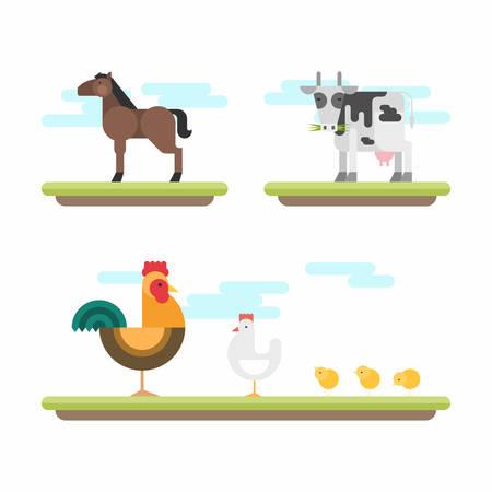 gallo: Conjunto de lindo estilo Flat ilustraciones del vector. Animales de granja. Caballo, vaca, pollo, gallo, pollos Vectores